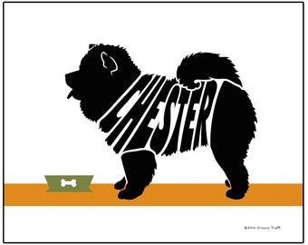 Personalized Chow Print, Custom Dog Wall Art, Archival Ink Name Art Print, Pet Memorial Gift