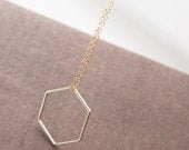 Hexagon Necklace,Gold Necklace,Minimalist Necklace,Delicate Necklace,Dainty Gold Necklace,Layering Necklace,Bride Necklace,Wedding