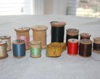 Vintage 12 Wood Spools of Thread plus Vintage Tape Measure