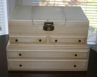 Vintage Large Cream Ivory Jewelry Box 1960s Hollywood Regency