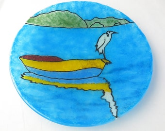 Egret on a Boat fused Glass Dish