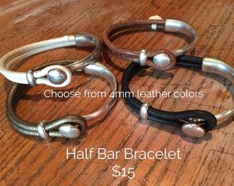 Bracelet, Leather half bar, silver, choice of colors, custom