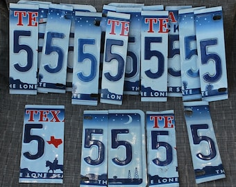 License Plate Numbers, Texas License Plate,Number 5, Cut License Plate Numbers, Numbers, Texas, Pre Cut License Plate, Signs, Clocks