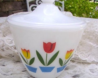 Vintage Fire King/Anchor Hocking Tulips Grease Jar with Lid Excellent Condition/Signed/Mid-Century Kitchen