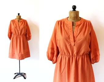 vintage dress 70's orange folk boho 1970's women's clothing size l large