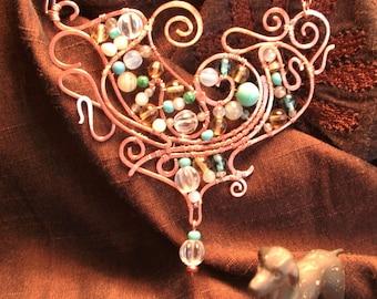 Romantic art nouveau-style copper necklace