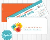 "Boarding pass invitation for desination wedding ""fly away to Maui"", Hawaii, turquois and orange, happy vacation mode, aloha"