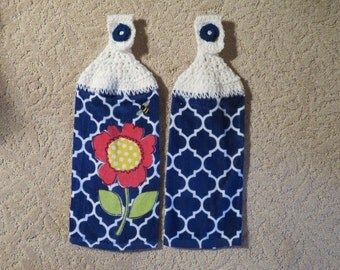 Crocheted Topped Hanging Kitchen Towels- Royal Blue Flower towels with white yarn toppers--Hostess Gift-Home Decor