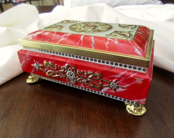 Vintage FRICKE AND NACKE Decorative Tin - red, gold, floral, footed, embossed
