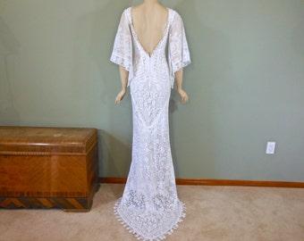 White Lace WEDDING Gown, Bohemian wedding Dress Flutter Sleeve Wedding Dress, Hippie BOHO Wedding Dress Backless Wedding Gown Sz Small