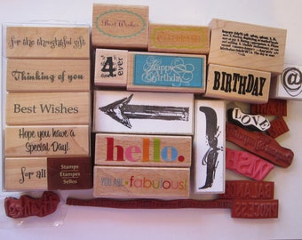 25 rubber stamps - phrases and scrapbooking elements - destash rubber stamps