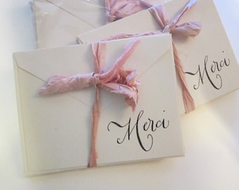 6 handmade cards with envelopes - MERCI - vintage paper and envelopes