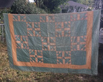 SALE Vintage Quilt Embroidered and Pieced by Irene Calvert 1934 in Missouri. Peach and Mint Green With Cream Back. Vintage Bedding Antiques