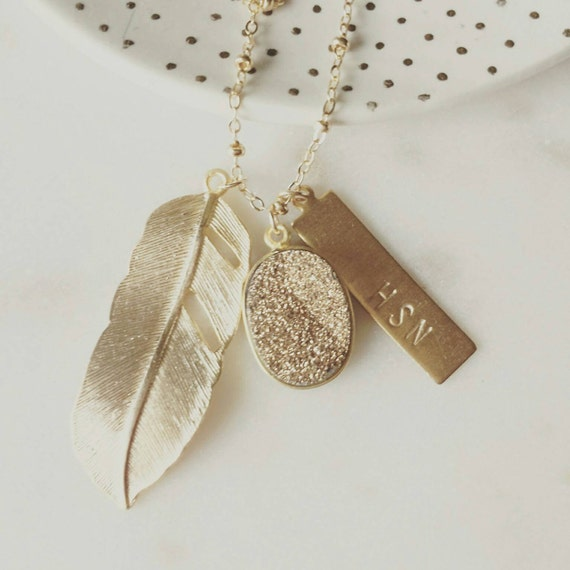 Personalized Golden Druzy and Feather Necklace