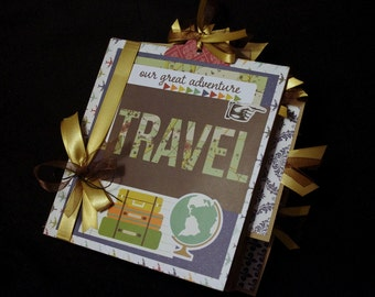 Travel 8x8 Paper Bag Scrapbook Album with pull journal cards