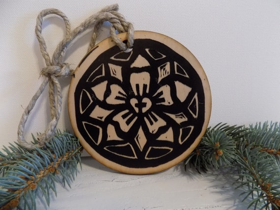 Luther's Rose Christmas Ornament - linocut relief print on wood