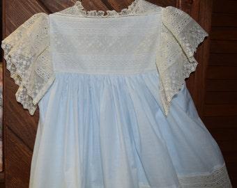 Heirloom dress size8 blue/ecru French & English lace Portrait Pageant Wedding Flower Girl