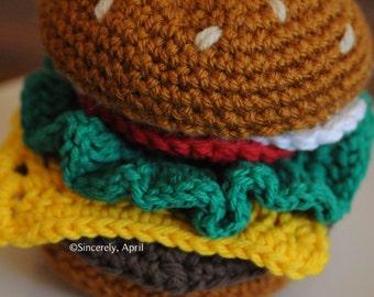 Amigurumi Crochet Play Food Cheeseburger Set -- Made To Order