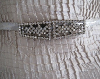 Vintage Art Deco Rhinestone Two Piece Belt Buckle Sash Buckle Bridal Wedding