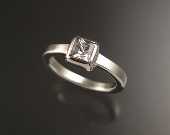 White Cubic Zirconium ring in Sterling, Any Size