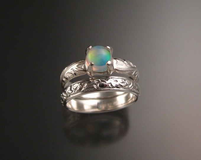 Opal Sterling silver Wedding Ring Set Victorian floral pattern band made to order in your size