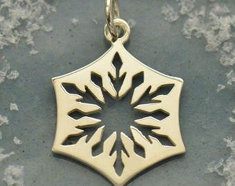 Small Sterling Silver Cut Out Snowflake Charm- C6008, Winter, Snow, Icicles, Magical
