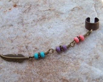 Beaded ear cuff, boho earcuff, ear cuff with feather charm, hippie, South West Style
