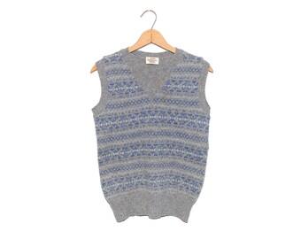 Vintage Shetland Wool Blue Grey V-Neck Sweater Vest Made in United Kingdom - Small
