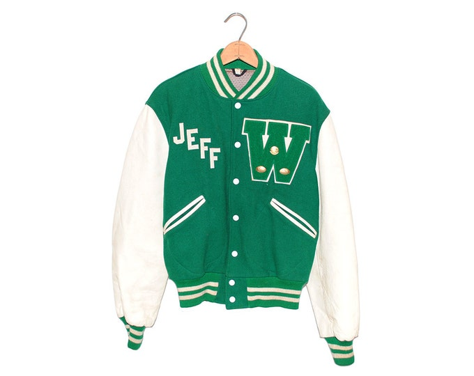 "Vintage Green & White Leather W ""Jeff"" Varsity Jacket of Champions Tailored by Butwin Made in USA - Medium (os-jkt-5)"