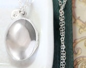 Plain Sterling Silver Locket Necklace, Large Puffed Oval w/ Hand Stamped Initial Charm - Reflections