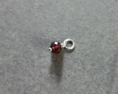 Tiny Garnet January Birthstone Charm, Sterling Silver Wire Wrapped Gemstone Pendant - Add a Dangle