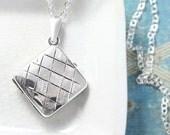 Sterling Silver Locket Necklace, Square Harlequin Pattern Engraved Vintage Photo Pendant - Criss Cross