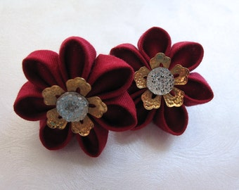 Little Gems Red Kanzashi Flower Hair Clips