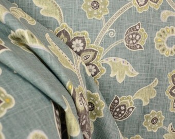 Ankara Pond Blue Green Jacobean Linen Fabric
