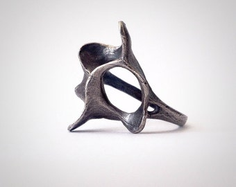 Silver Coral Flower Brutalist Ring - Sterling Silver - Hand Made