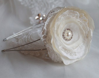 Wedding bridal flower girl head band in ivory and white with lace and rhinestone