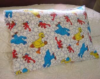Sesame Street Li'L Flannel Toddler Pillowcase -Playing Ball -Big Bird Cookie Monster Elmo Baseball -12 x 16 Travel Pillow Cover -Great Gift