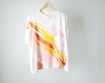 SNAKE SPECTRUM light orange and red print t-shirt HUGE oversize