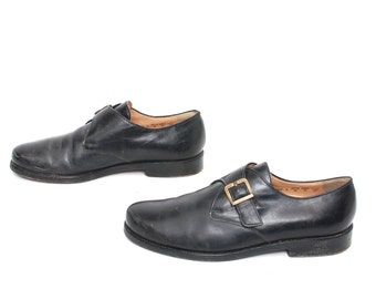mens size 8.5 BUCKLE black leather 80s BEATLE ankle shoes