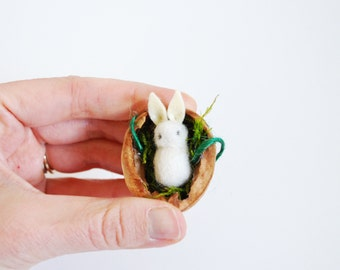 Baby's First, Easter Ornament, New Mom Gift, New Baby Gift, Easter Bunny, Needle Felted Bunny, Tiny Rabbit