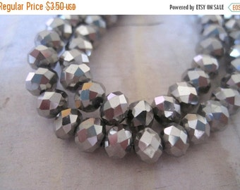 """20% OFF ON SALE 16"""" long (72 pcs) Chinese Crystal Silver Faceted Rondelle 6mm Beads"""