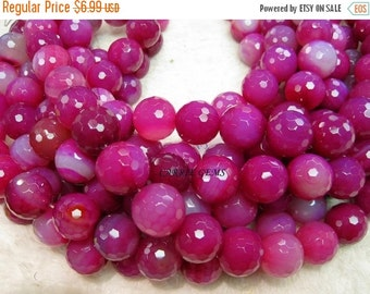 20% OFF ON SALE Pink Agate 20mm Faceted Round Beads, Gemstone Beads