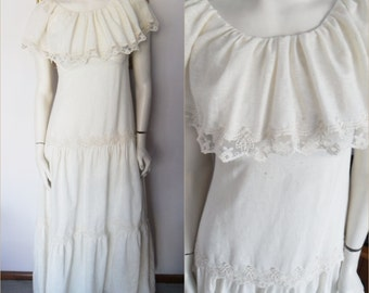 Rare Vintage 70s Ecru Gauze Lace Ruffle Wedding Maxi Dress by Montaldo's.Size small.Bust 33.Waist 29.