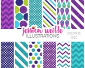 SALE Pretty Peacocks Cute Digital Papers Backgrounds for Personal and Commercial Use, Purple Chevron Patterns, Purple Teal Backgrounds