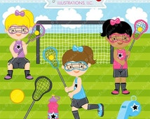 SALE Lacrosse Girls Cute Digital Clipart for Commercial and Personal Use, Lacrosse Clipart, Lacrosse Graphics