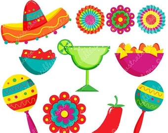 SALE Fiesta Cute Digital Clipart, Spanish Mexican Clipart, Mexican Graphics, Cinco de Mayo Graphics, Sombrero Clip art, Fiesta Clip Art, Mar