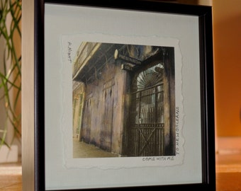 New Orleans French Quarter Preservation Hall Jazz Mecca Colorized Black and White Photograph Framed