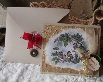 Christmas cards vintage style birds hand painted christmas cottage card elegant card and envelope paper art card Shabby Chic Christmas gifts