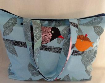 IKEA Birds, Blue Beach BAG, Diaper BAG, Knitting Bag, Extra Large Tote, Spring Summer, Shopping Bag