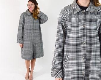 80s Reversible Raincoat | Black White Plaid Coat Jacket | Large